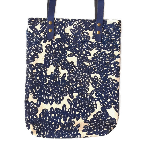 Slim linen tote with leather strap and dark blue hand screen printed