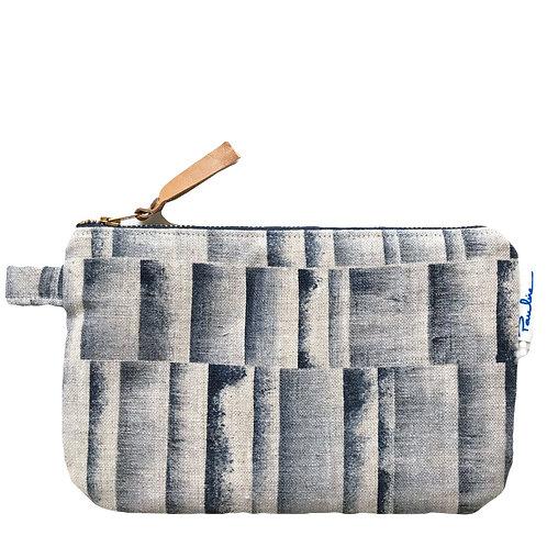 Oatmeal linen zipper pouch with handprinted blue stripe print