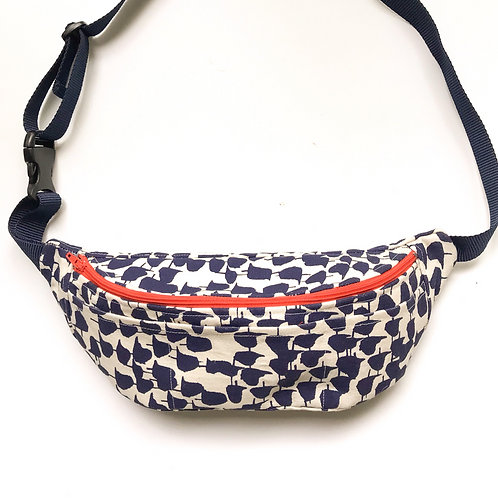 Fanny pack / hip bag with blue abstract bird print and orange zipper