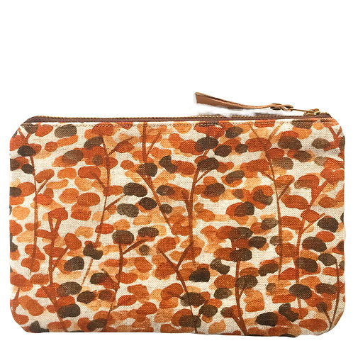 Natural linen zipper pouch with handprinted autumn leaves pattern