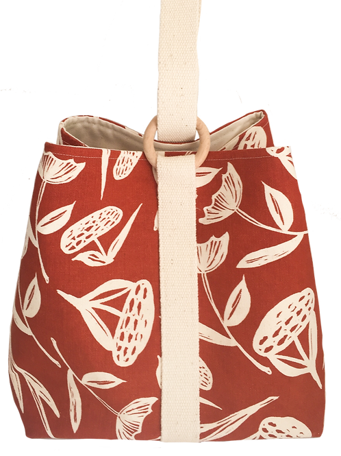 Large project bag for knitting, crochet or craft supplies red with flower patter
