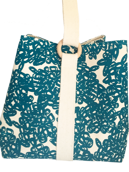 Large project bag for knitting, crochet or craft supplies abstract teal print