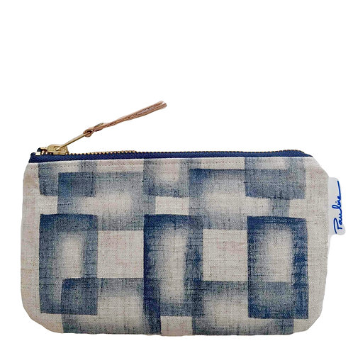 Linen zipper pouch with handprinted blue geometrical print