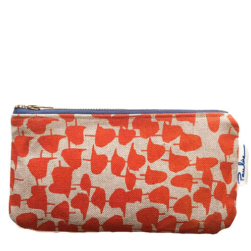 Oatmeal linen zipper pouch with orange abstract print and blue zipper