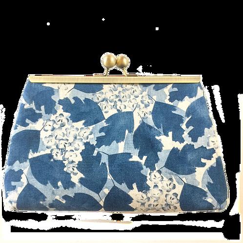 linen frame purse, hawthorn inspired print in blue