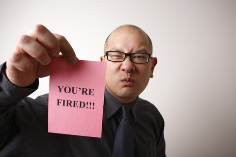 Employer giving employee the pink slip
