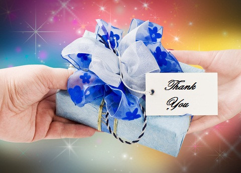 Thank you card and gift