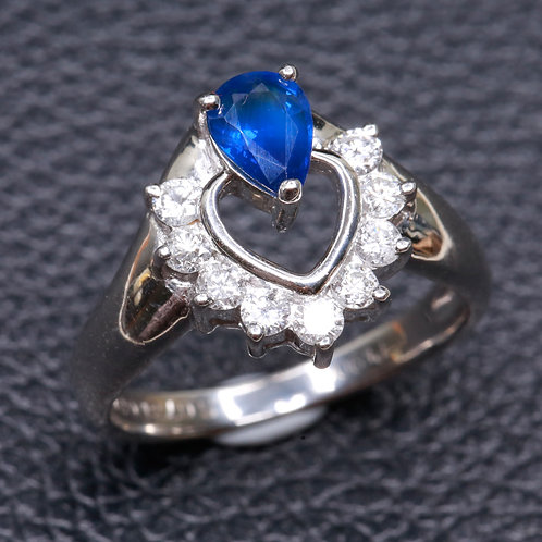 WHITE GOLD RING WHIT NATURAL SAPPHIRE AND DIAMONDS