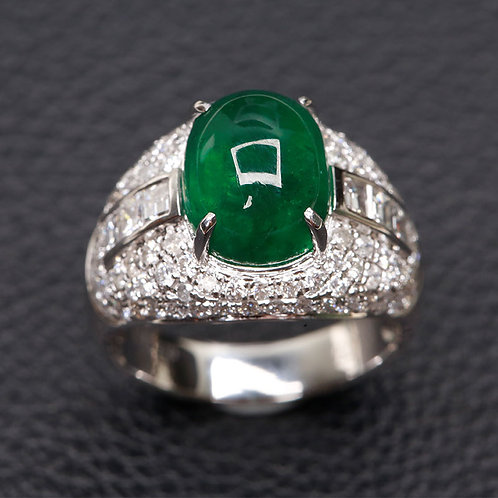 WHITE GOLD RING WHIT EMERALD AND DIAMONDS