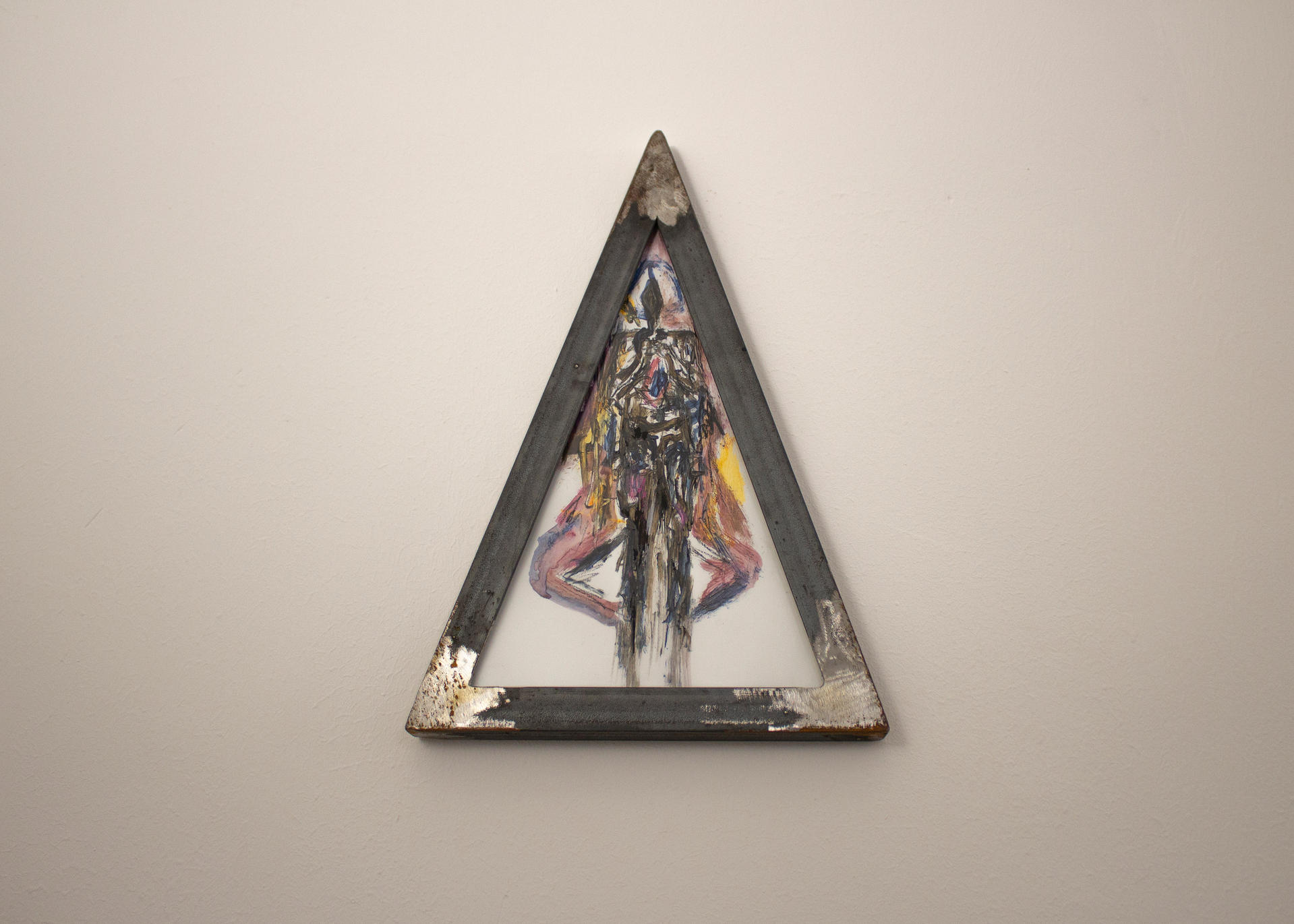 Alessandro Giannì, in the triangle, 2020, oil and acrylic on paper and iron frame