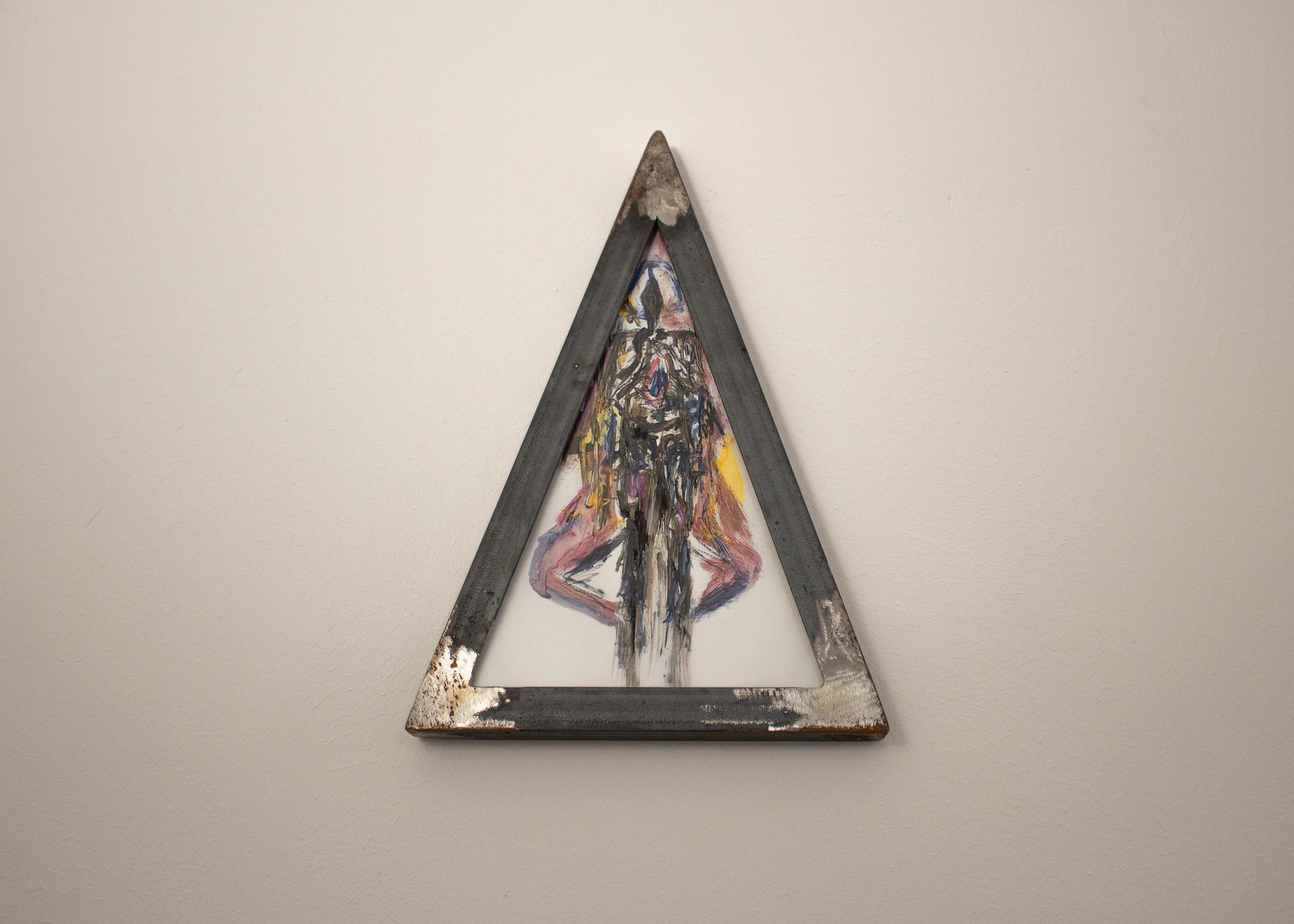 Alessandro Giannì, nel triangolo, 2020, olio e acrilico su carta e cornice in ferro