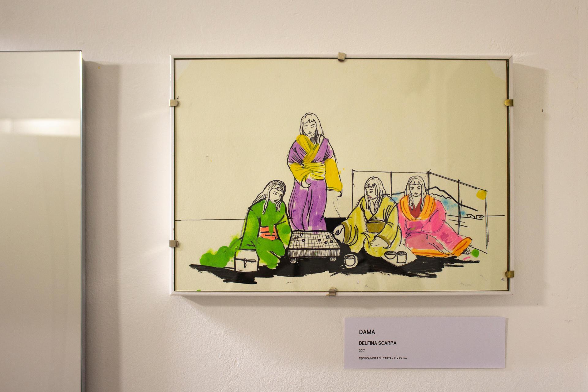 Delfina Scarpa, Dama, 2017, tecnica mista su carta, 21 x 29 cm