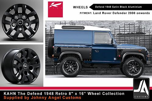 """KAHN Defend 1948 8""""x16"""" Satin Black Alloy Wheels"""