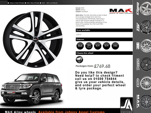 MAK - ARIA (Ice Black) Alloy Wheels SET of 4