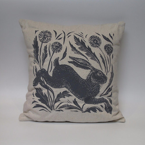 Leaping hare hand printed linen cushion