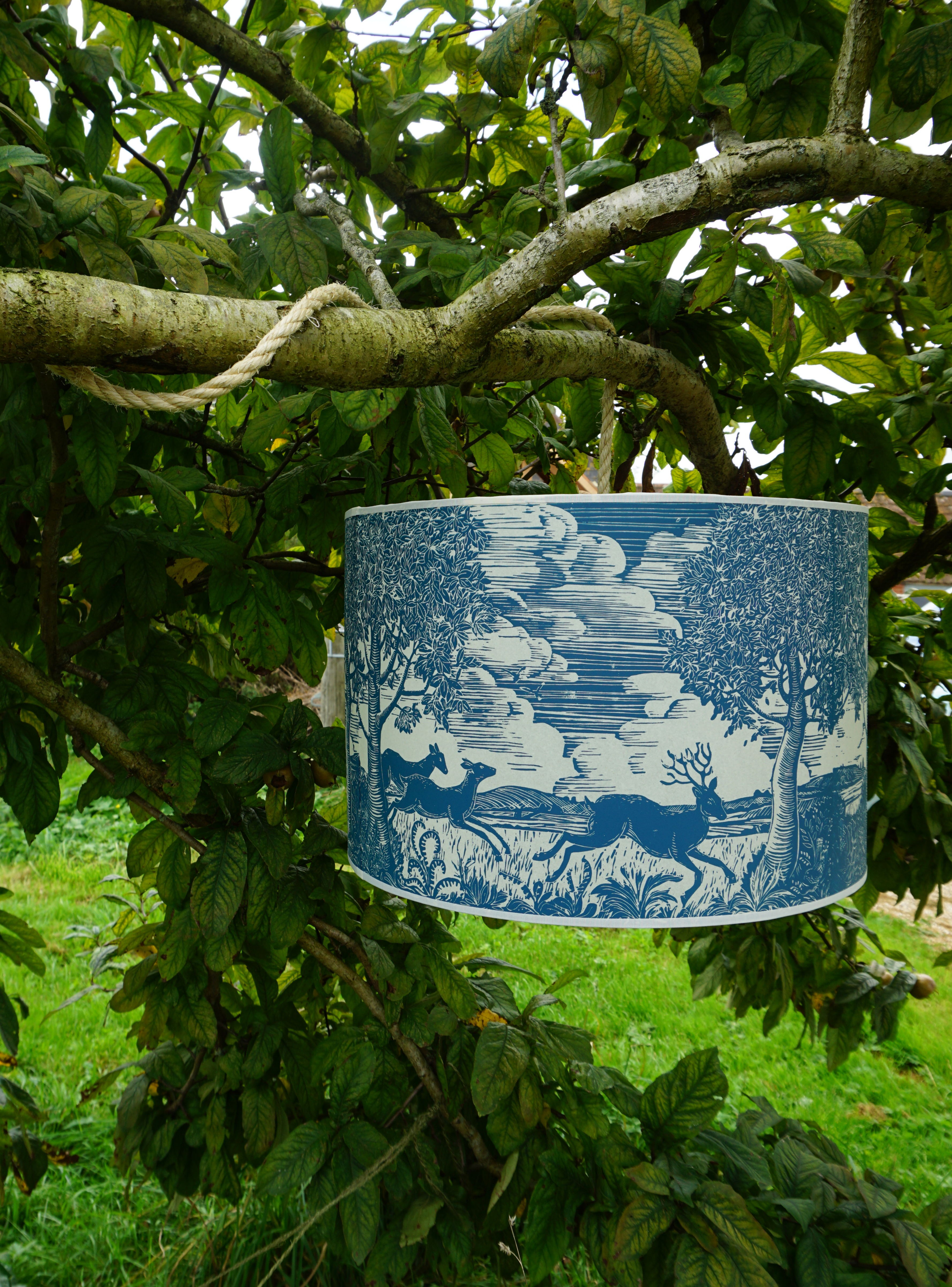 Running dear handprinted lampshade