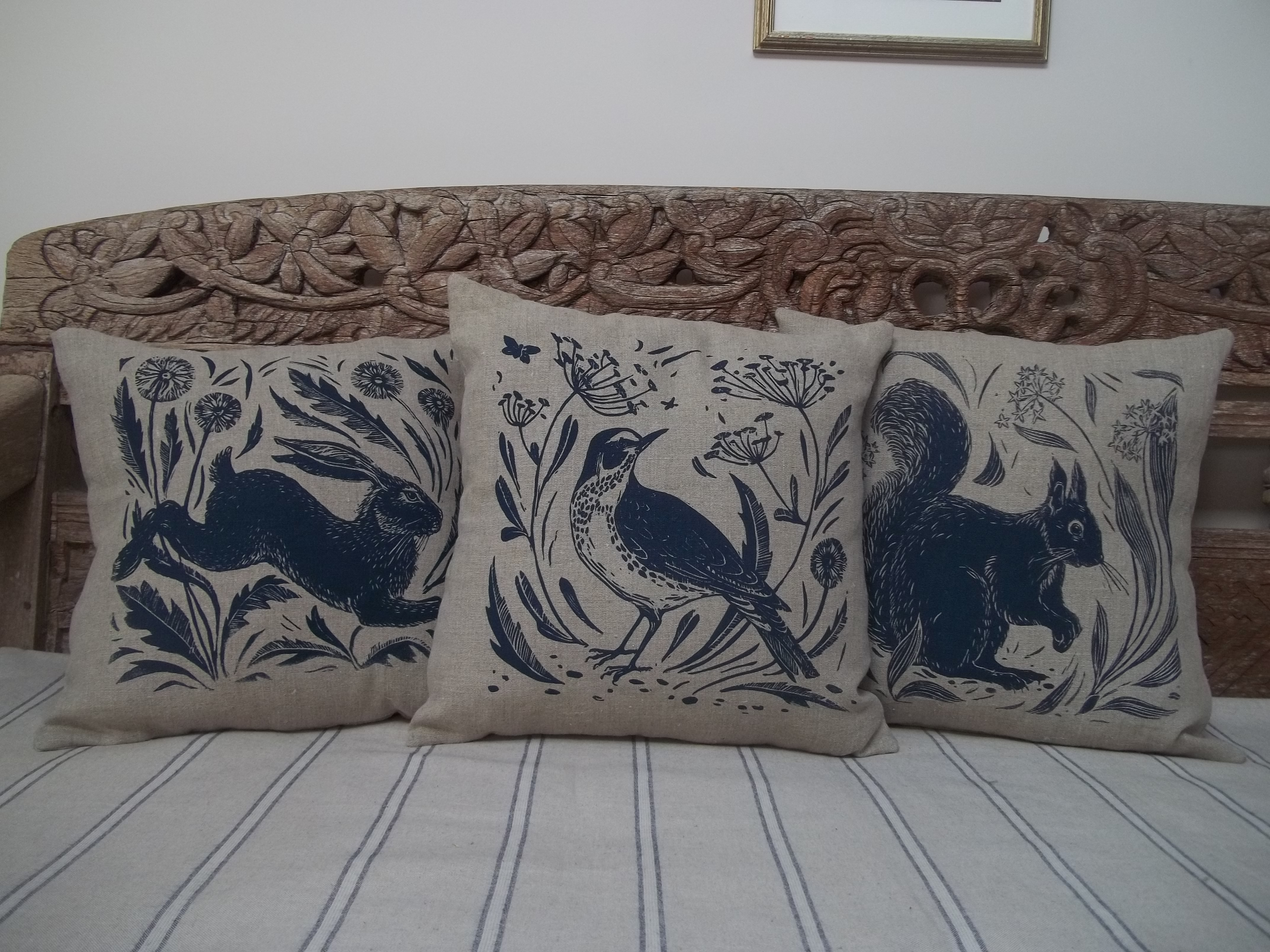 Handprinted linen cushions