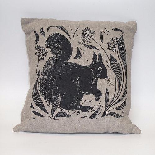 Squirrel hand printed linen cushion