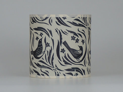 Bird garden lampshade, dark blue