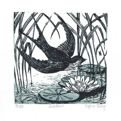Swallow lino print