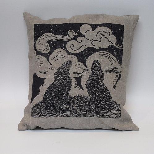 Moon gazing hares, hand printed cushion