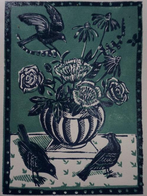 Midsummer lino print