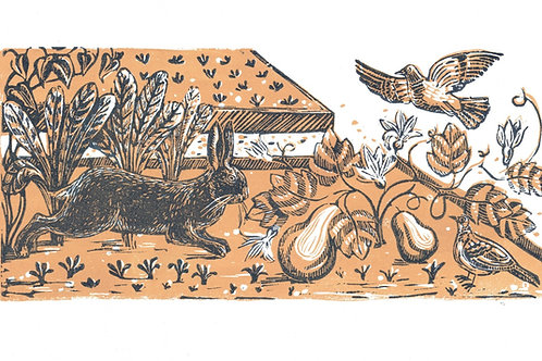 Allotment life lino print.