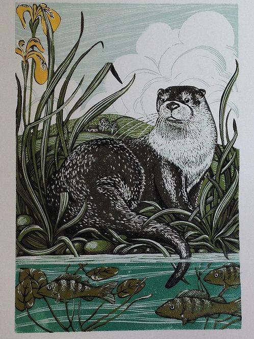 Otter reduction lino print