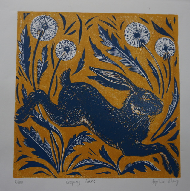 Leaping hare lino print