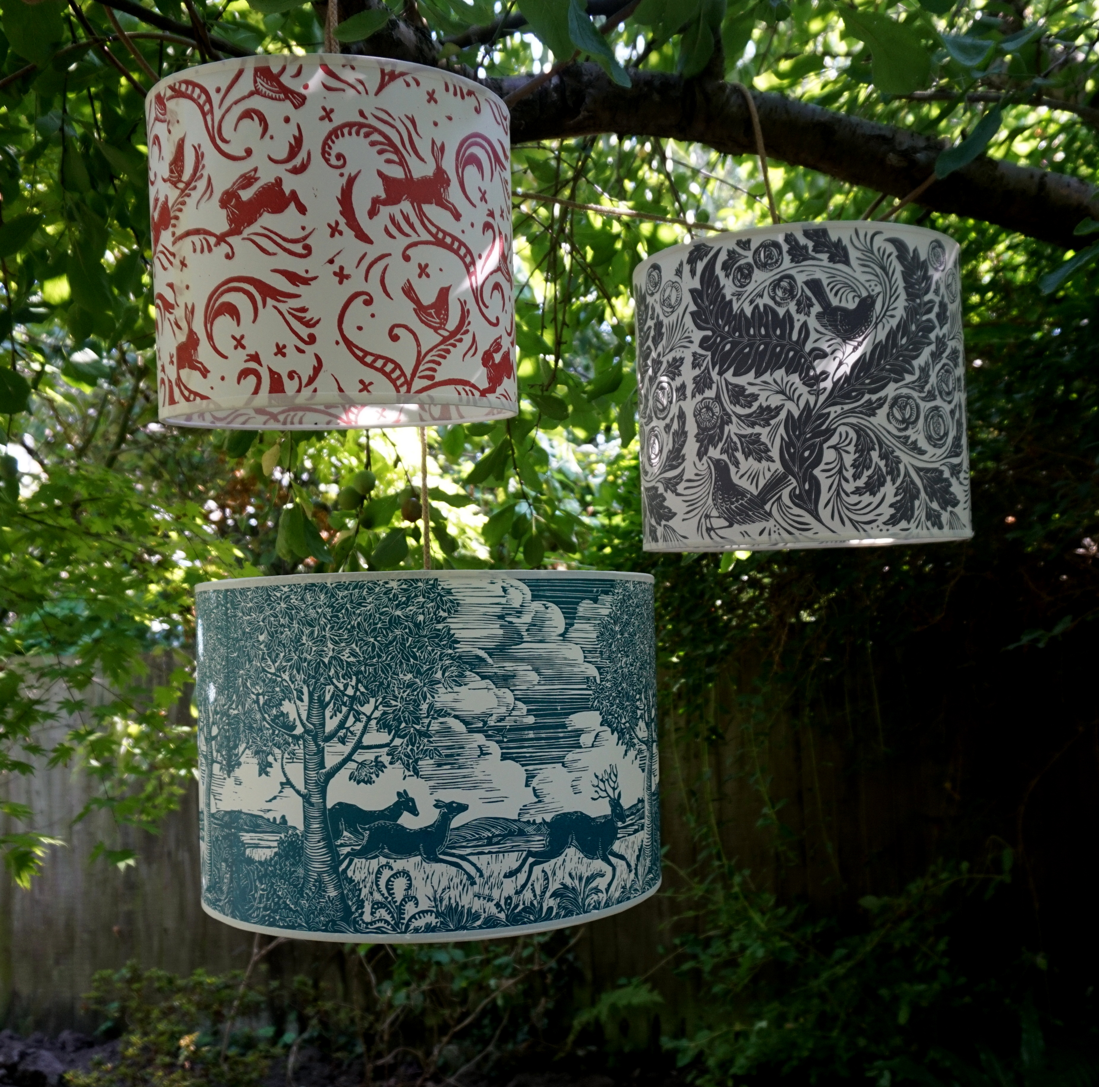 Handprinted lampshades