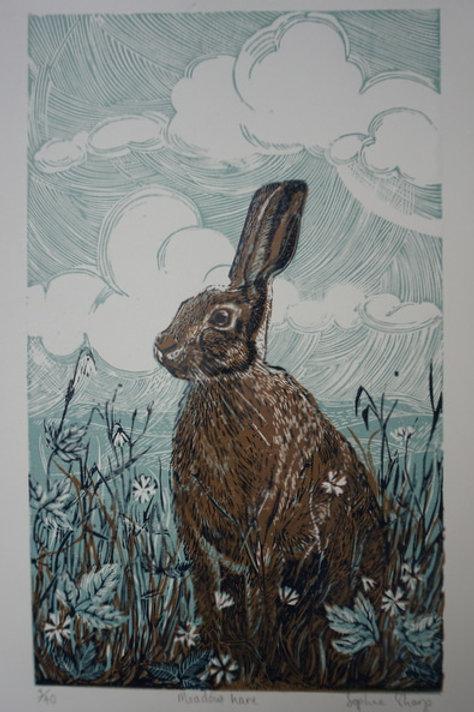 Meadow hare lino print