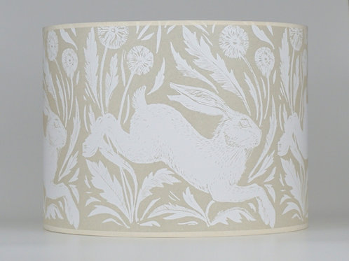 Hare and dandelions lampshade, white. From £60