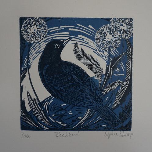 Blackbird lino print