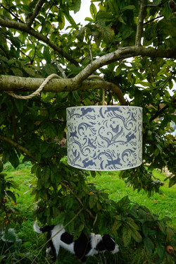 Leaping hare lampshade