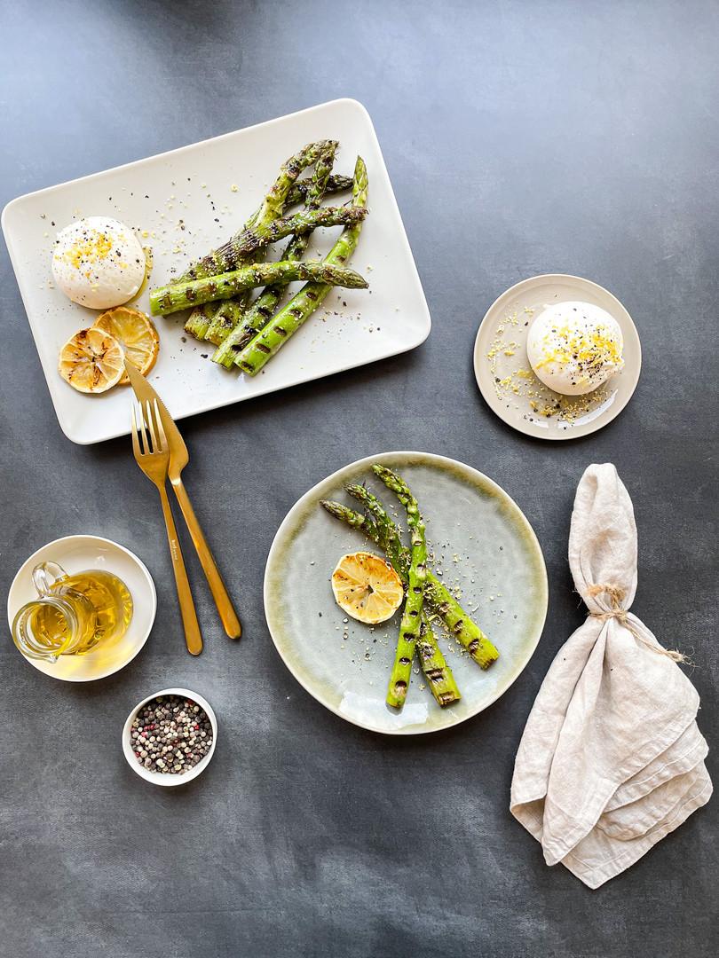 Grilled spice asparagus with lemon burra