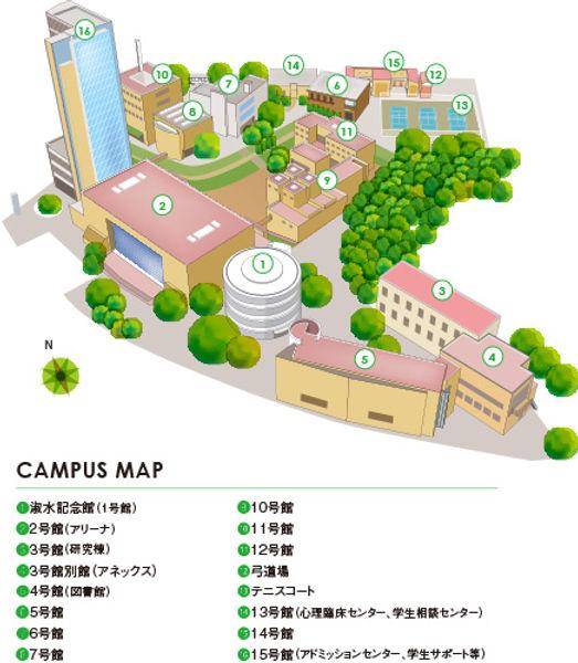 アジア仏教ソーシャルワークの研究拠点の淑徳大学千葉キャンパスマップ