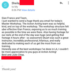 STUDENT/ACTOR REVIEW