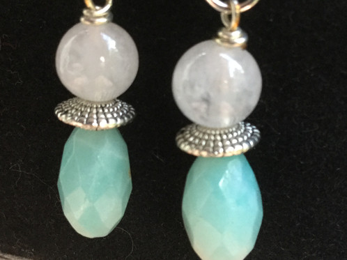 Semi Precious Faceted Ite With Snow Quartz And Silver Plated Beaded Earrings Nickel Free Sterling 925 Earring Hooks