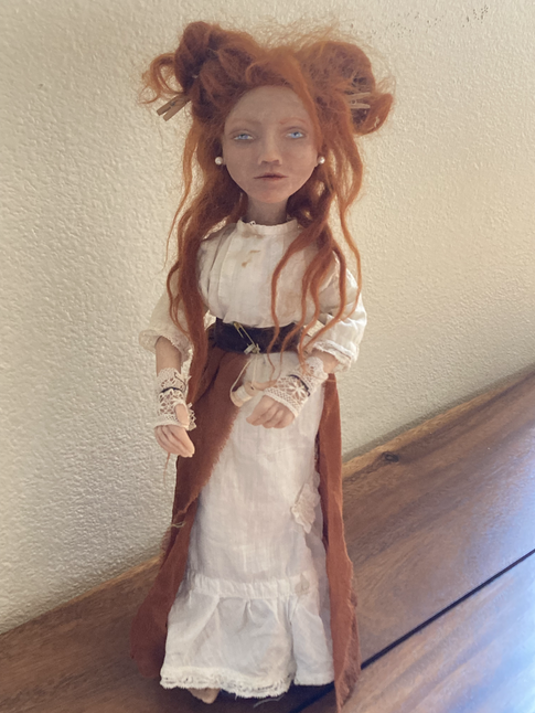 """12"""" Puppet mixed media. Upcycled gown handsewn from vintage baby dress and hand dyed silk."""