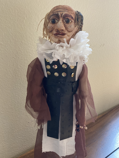 Romeo and Juliet puppet made as a instructor demo for a course teaching actors  to build their own puppets from inexpensive materials.  Production at Portland Community College.
