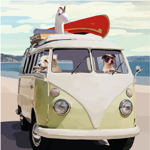Campervan Dogs Greeting Card