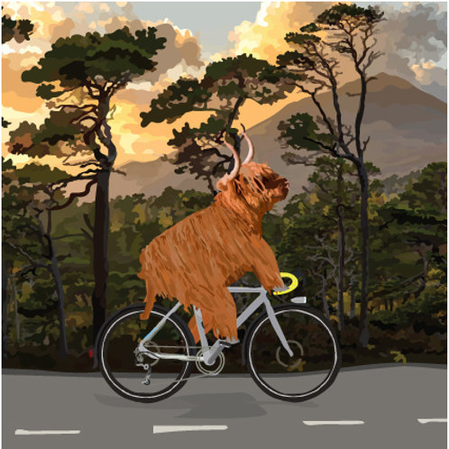cycling cow Greeting Card