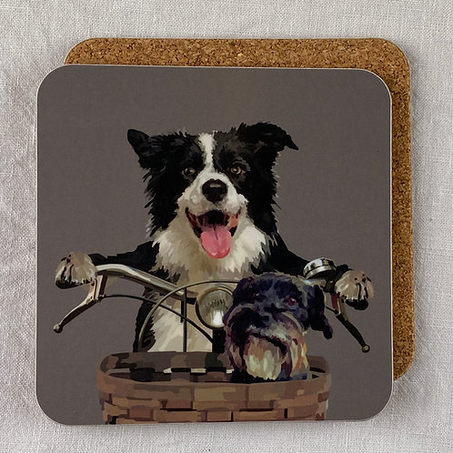 Dogs on a Bike Coaster Set