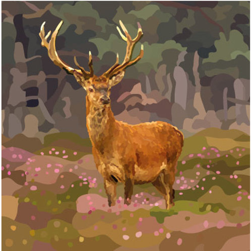 Stag in Heather Greeting Card