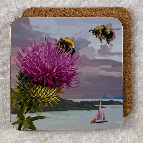 Bee and Thistle Coaster Set