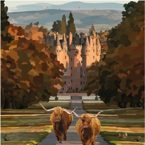 Highland cows and Castle Greeting Card