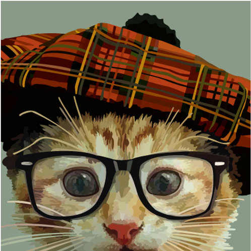 Cat with a hat and glasses Greeting Card