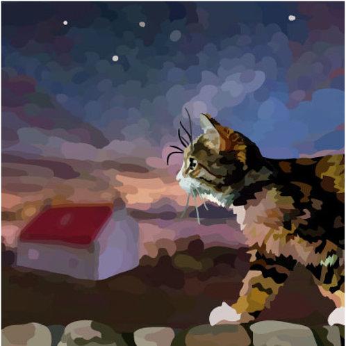 night cat Greeting Card