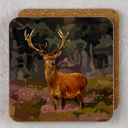Stag and Heather Coaster Set