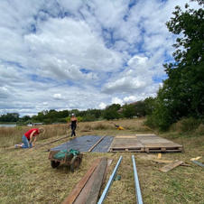 Building the platform for the tent